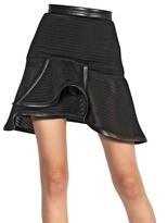 Thierry Mugler Leather Trim Trame Shogun Knit Skirt