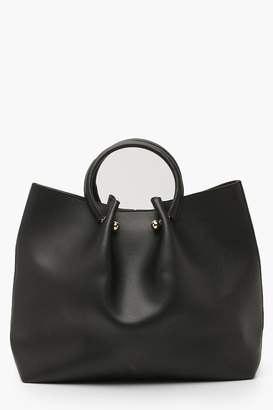 boohoo Structured Ring Handle Tote Bag