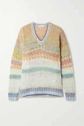 Etro Striped Open-knit Wool-blend Sweater - Peach