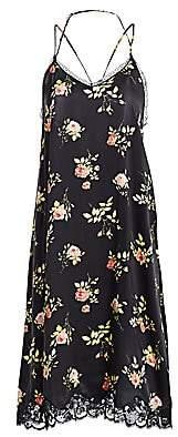R 13 Women's Floral Lace-Up Back Silk Slip Dress