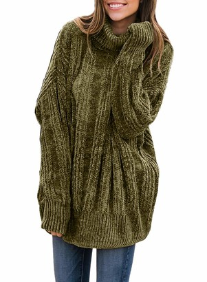 Women Fashion Casual Cozy Turtleneck Long Sleeve Sweater Ribbed Solid Oversied Chunky Jumper Tops Loose Fit Sweaters for Ladies Green Large