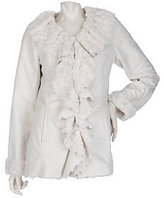 As Is Dennis Basso Faux Suede Ruffle Front Jacket w/ Faux Fur Lining