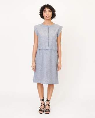 Beaumont Organic Navy Speckle Adele Jane Hemp Chambray Dress - Navy Speckle / Large - Blue
