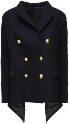 Sacai Draped Knit Wool Jacket W/ Gold Buttons