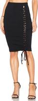 Donna Mizani Lace Up Midi Slit Skirt