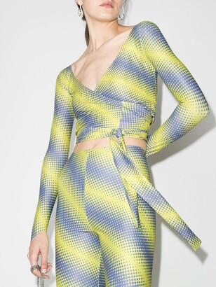 MAISIE WILEN Yellow Diagonal Print Wrap Top