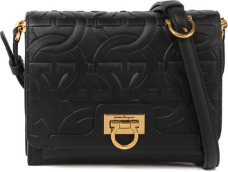 Salvatore Ferragamo Gancini Black Leather Mini Bag