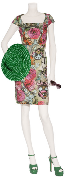 Anya Hindmarch Green and White Straw Sun Hat
