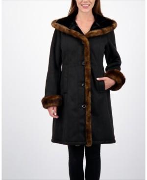 Jones New York Hooded Faux-Shearling Coat