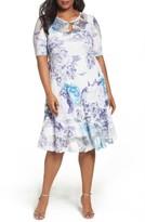 Komarov Plus Size Women's Print Keyhole Chiffon A-Line Dress