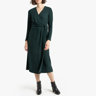 La Redoute Collections Wrapover Midi Dress with Long Sleeves