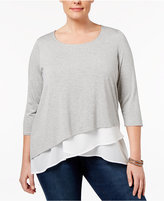 INC International Concepts Plus Size Layered-Look Top, Only at Macy's