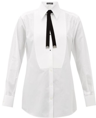 Dolce & Gabbana Bolo-tie Cotton Tuxedo Shirt - White