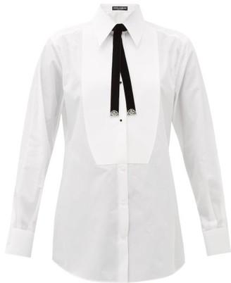 Dolce & Gabbana Bolo-tie Cotton Tuxedo Shirt - Womens - White