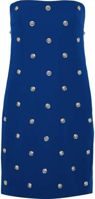 Versace Strapless Button-embellished Stretch-crepe Mini Dress
