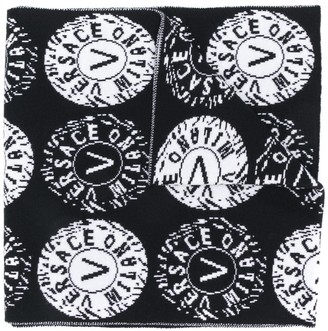 Versace round logo intarsia scarf