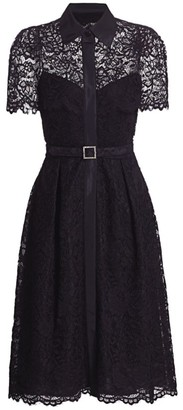 Teri Jon by Rickie Freeman Belted Lace Shirtdress