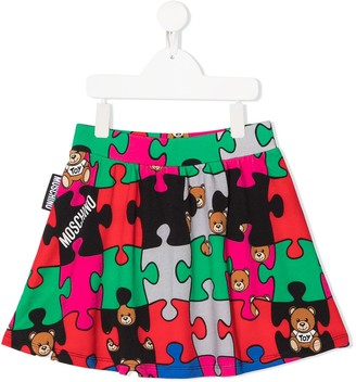 MOSCHINO BAMBINO TEEN jigsaw teddy print skirt
