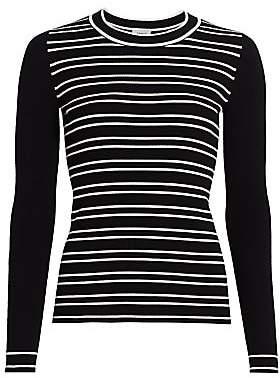 Akris Punto Women's Stripe Long-Sleeve Stretch-Wool Rib-Knit Sweater