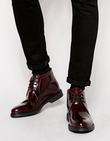 Base London Screw Leather Chukka Boots - Red