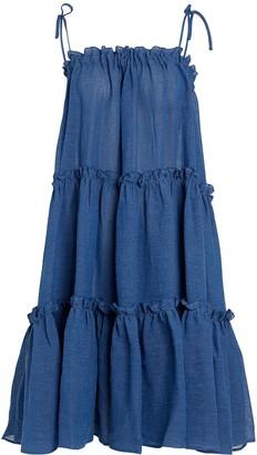 Lisa Marie Fernandez Ruffled Peasant Linen Dress