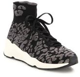 Ash Maniac Knit Leopard-Print Wedge Sneakers