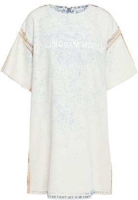 MM6 MAISON MARGIELA Printed Bleached Denim Mini Dress