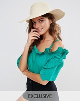 South Beach Floppy Straw Hat with Sequins