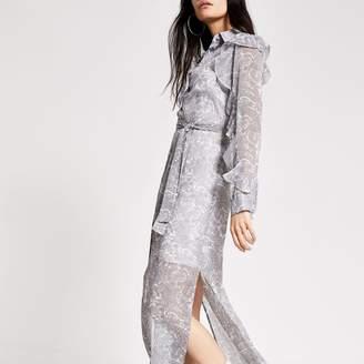 River Island Womens Cream printed frill sleeve maxi shirt dress