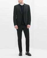 Zara Black Technical Blazer With Pin On Lapel