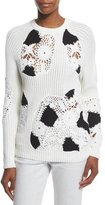 Derek Lam Ribbed Crewneck Sweater w/Crocheted Insets, White/Black