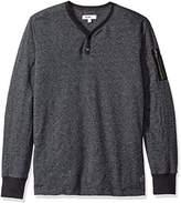 William Rast Men's Maverick Long Sleeve Henley Shirt with Arm Zip
