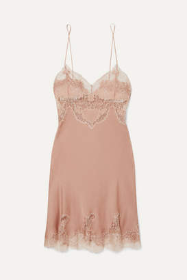 Carine Gilson Egerie Chantilly Lace-trimmed Silk-satin Nightdress - Antique rose