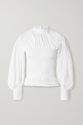 Ganni Shirred Organic Cotton-poplin Blouse - White