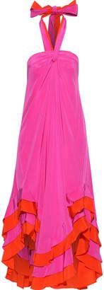 Diane von Furstenberg Sage Asymmetric Ruffled Silk Halterneck Dress