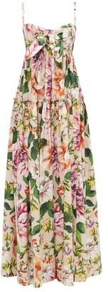 Dolce & Gabbana Bow-trim Floral-print Cotton Maxi Dress - Womens - Pink Print