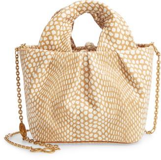 STAUD Lera Snake Embossed Leather Top Handle Bag