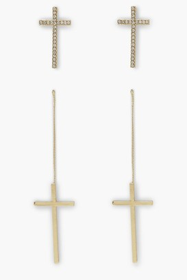 boohoo 2 Pack Cross Earrings, Smooth And Diamante