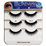 Broadway Eyes Black Strip False Eyelash Trio Pack 100% Human Hair #1 BLAT01 (2-Pack)