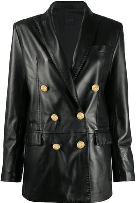 Tagliatore Double Breasted Leather Blazer