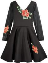 Bonnie Jean Rose-Embellished Scuba Dress, Big Girls (7-16)