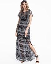 White House Black Market Flutter-Sleeve Printed Woven Maxi Dress