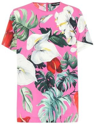Dolce & Gabbana Printed stretch-silk top