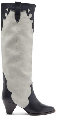 Isabel Marant Litz Suede And Leather Knee-high Boots - White Black
