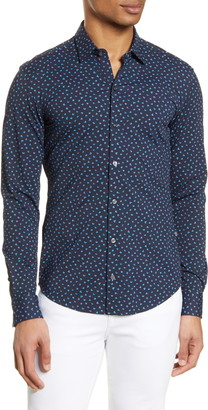 BOSS Robbie Slim Fit Mini Floral Print Button-Up Performance Shirt