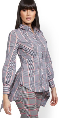 New York & Co. Petite Plaid High-Low Shirt - 7th Avenue
