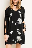 Entro Embroidered V Neck Dress