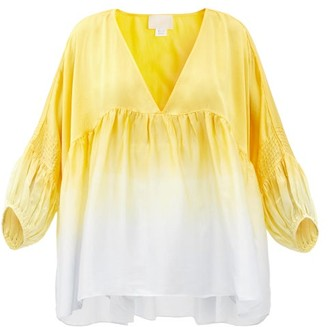 Anaak Raj Balloon-sleeve Dip-dyed Silk Blouse - Yellow Multi