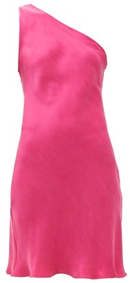 The One Worme Shoulder Silk Mini Dress - Womens - Pink
