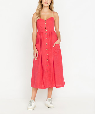 Buffalo David Bitton Women's Casual Dresses CORAL - Coral Catina Button-Front Sleeveless Midi Dress - Women